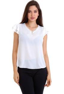Blusa Crepe Gola Com Aviamento Feminina - Feminino-Branco