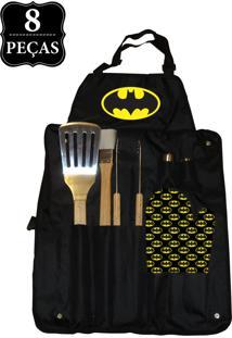 Kit Churrasco Dco Batman 8 Pçs Preto.