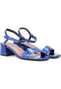 Sandália Couro Bottero Salto Bloco Metalizada Feminina - Feminino-Azul Royal