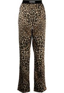 Tom Ford Calça De Seda Com Estampa De Leopardo - Preto