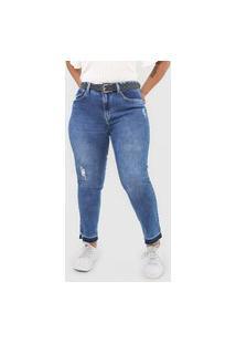 Calça Jeans Calvin Klein Jeans Slim Cropped Desgastes Azul