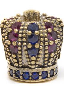 Pingente Coroa Com Pedras Memories Prata 925 Zircônia Banho De Ouro