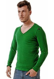 Camiseta Oitavo Ato Decote V Manga Longa Masculina - Masculino-Verde