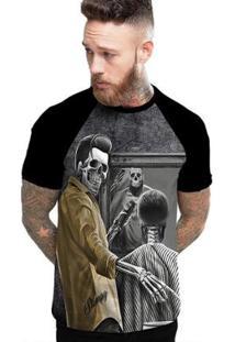Camiseta Stompy Raglan Modelo 120 Masculina - Masculino-Preto