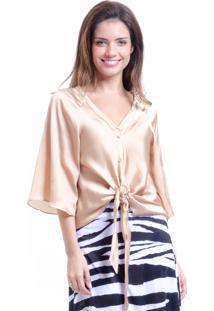 Blusa 101 Resort Wear Cetim Lisa Ouro De Amarrar Com Laã§O E Botãµes Dourada - Dourado - Feminino - Cetim - Dafiti