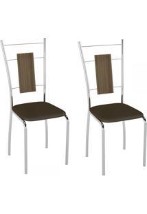 Cadeiras Kit 2 Cadeiras Pc19 Vinil Cacau/Cromado - Pozza