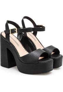 Sandália Sapatinho De Luxo Napa Dubai Plataforma Feminina - Feminino-Preto