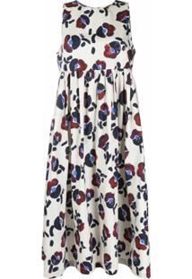 Odeeh Vestido Midi Acinturado Com Estampa Floral - Neutro