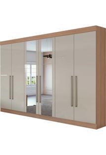 Guarda Roupa Casal Com Espelho 6 Portas 4 Gavetas Com Kit Gavetas Castellaro Bege - Tricae