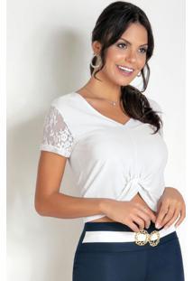 Blusa Branca Com Manga Curta Em Renda