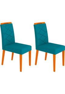 Conjunto Com 2 Cadeiras Caroline Ipê E Azul