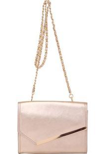 Bolsa Couro Smartbag Tiracolo Metalizado Ouro - 79002.16