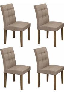 Conjunto Sala De Jantar Mesa Tampo Mdf 4 Cadeiras Itália Leifer Ypê/Linho Bege