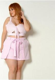 Cropped Vintage & Cats Plus Size Vichy - Feminino-Pink