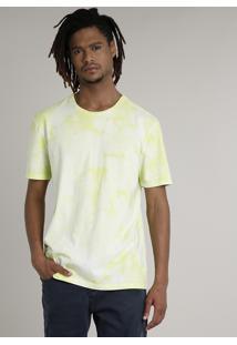 Camiseta Masculina Estampada Tie Dye Manga Curta Gola Careca Verde Claro