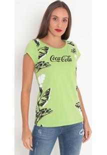 Camiseta Folhagens Com Inscrição- Verde Claro & Preta