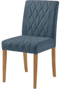 Cadeira Menta Assento Cor Azul Com Base Nogal - 46447 - Sun House