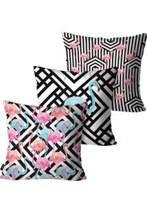 Kit Com 3 Capas Para Almofadas Decorativas Branco Geométricas Flamingo 45X45Cm Pump Up