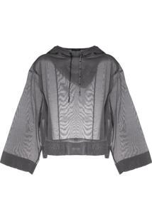 Emporio Armani Blusa Cropped Transparente Com Capuz - Cinza