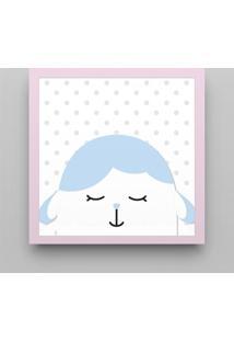 Quadro Carneirinho Azul Bebê/Rosa 38Cm Grão De Gente Rosa