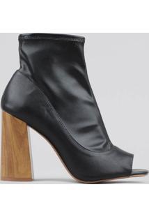 Bota Ankle Boot Feminina Salto Alto Preta