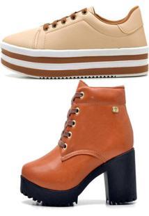 Kit Bota Coturno Ousy Shoes Mais Tênis Flatform Caramelo