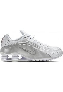 Calçado Tênis Branco Feminino Nike Conforto Couro Sintético Amor Shox R4