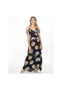 Vestidos Khelf Vestido Longo Alça Com Babado Floral Azul Marinho
