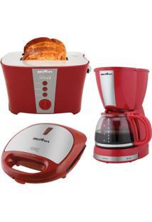 Kit Cozinha Completa Britania Vermelho 127V Bkt14V