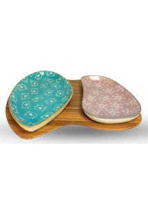 Petisqueira De Cerâmica Com Suporte Em Bambu 3 Peças