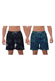 Kit 2 Shorts Moda Praia Preto Verde Samambaia Esporte Banho Surf Folhas W2