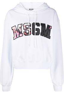 Msgm Blusa De Moletom Com Capuz E Estampa Floral E Logo - Branco