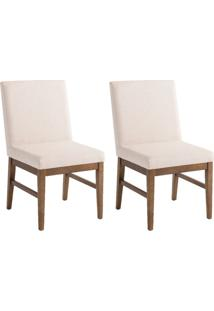 Conjunto Com 2 Cadeiras De Jantar Cassis Bege E Imbuia