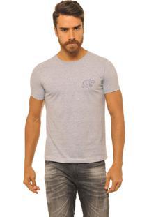 Camiseta Masculina Joss Logo Urso Azul Cinza
