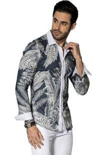 Camisa Manga Longa Pargan Folhagem Masculina - Masculino-Marinho