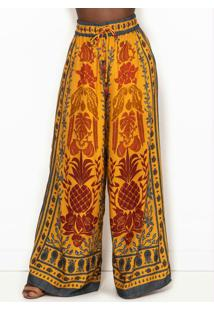 Calça Pantalona De Viscose Araras De Cor Amarela