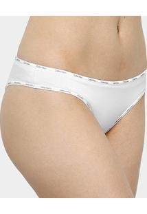 Calcinha Tanga Calvin Klein Básica - Feminino-Branco
