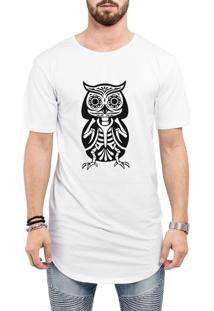 Camiseta Criativa Urbana Long Line Oversized Coruja Tattoo Esquelética Branca