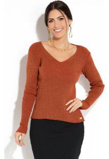 Suéter Em Tricot Tijolo E Dourado Com Decote V