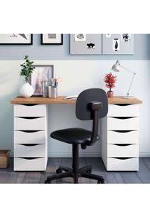Mesa Para Computador Com 10 Gavetas Due – Artany - Nogal / Branco