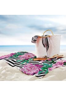 Toalha De Praia / Banho Floral Geométrico
