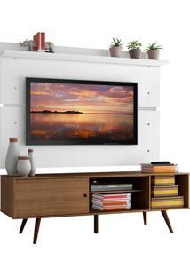 Rack Madesa Cairo E Painel Para Tv Até 65 Polegadas Com Pés De Madeira - Rustic/Branco Marrom