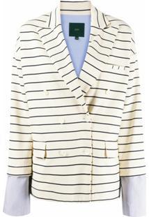 Jejia Blazer Com Punhos Contrastantes - Branco
