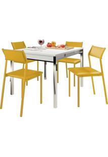 Sala De Jantar Carraro 1541 109/160+4 Cadeiras Amarelo