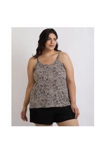 Pijama Feminino Plus Size Regata Estampada De Animal Print Onça Alças Finas Marrom