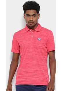 Camisa Polo Fila Action Ii Masculina - Masculino-Cinza+Vermelho