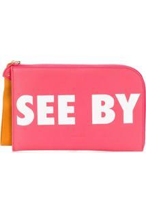 See By Chloé Bolsa Clutch Com Logo - Rosa