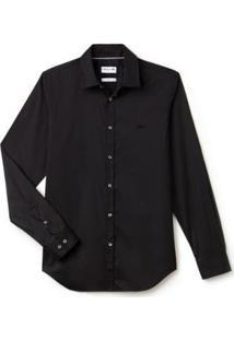 Camisa Lacoste Slim Fit Masculina - Masculino-Preto