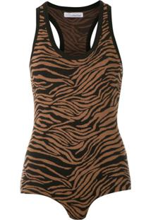 Nk Body De Tricô Animal Print - Marrom