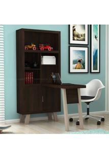 Estante Livreiro Com Mesa Para Computador/Escrivaninha Denver Tabaco/Fendi - Urbe Móveis